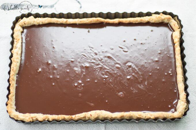 This Ganache Tart recipe is easy yet decadent with a homemade almond (or plain) and butter tart crust and smooth homemade chocolate ganache. #dessert #ganache #chocolate #tart #ganacetart