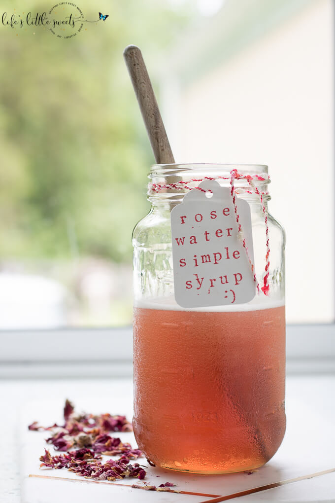 Rose Water Simple Syrup is a sweet, rose-scented syrup that you can add to mix drinks and other recipes. #rose #rosewater #simplesyrup #sugar