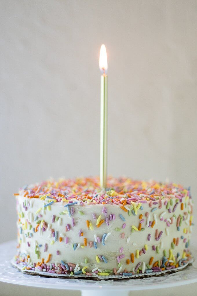 This 1st Birthday Cake recipe has 2 tiers, 5-inch diameter layers of delicious banana bread cake with a cream cheese frosting - all naturally-sweetened of course :) Top with all natural sprinkles for the cutest 1st Birthday cake ever! (gluten-free option) #cake #bananabread #1stbirthdaycake #naturallysweetened #maplesyrup #creamcheesefrosting #bananacake #birthdaycake #birthday #recipe