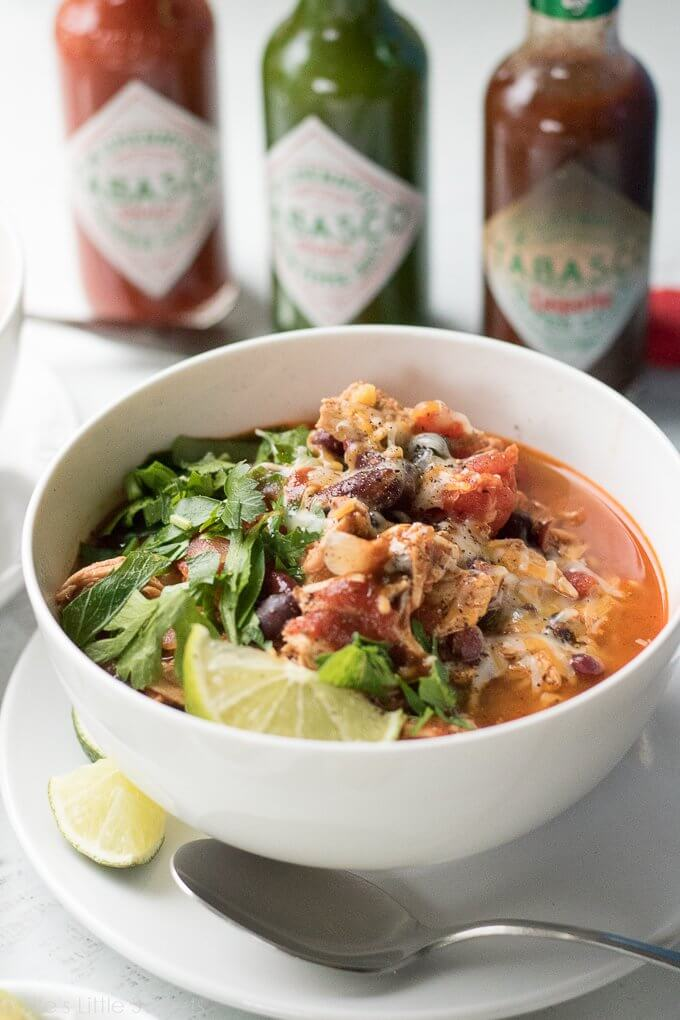 Chipotle Turkey Chili is savory, flavorful and so perfectly warming on a cold, Winter day. You can use up leftover turkey meat or substitute the same amount lean ground turkey. This recipe uses flavorful and smokey, TABASCO® Chipotle Pepper Sauce. #ad #FlavorYourWorld #CollectiveBias @TABASCO #chili #recipe #Chipotle #Tabasco