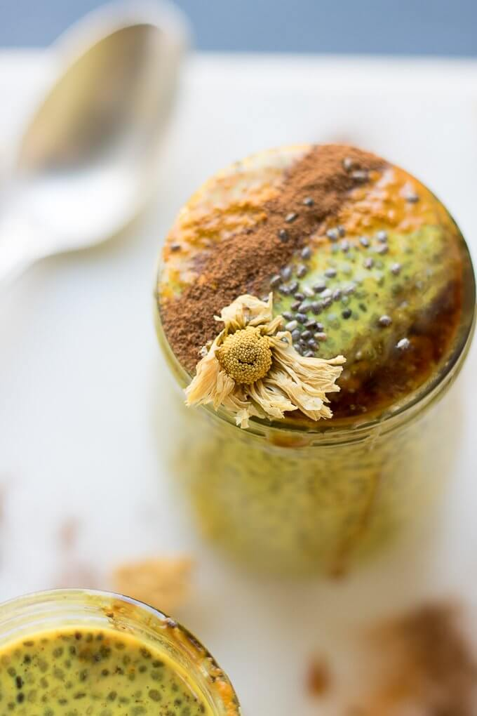 Chrysanthemum Golden Milk Chia Pudding has turmeric, cinnamon, fresh ginger and is infused with dried chrysanthemum flowers. It's a comforting, spiced take on chia pudding and goes great with a drizzle of honey or maple syrup on top! #chiapudding #breakfast #goldenmilk #Chrysanthemum