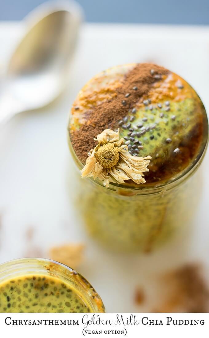 Chrysanthemum Golden Milk Chia Pudding - Turmeric, Maple Syrup