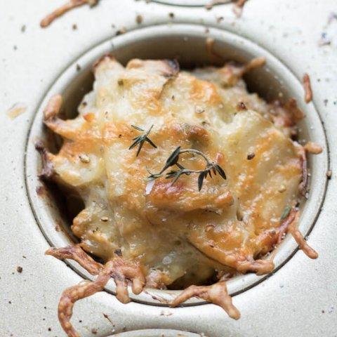 Crisp Rosemary Thyme Potato Cheese Stacks