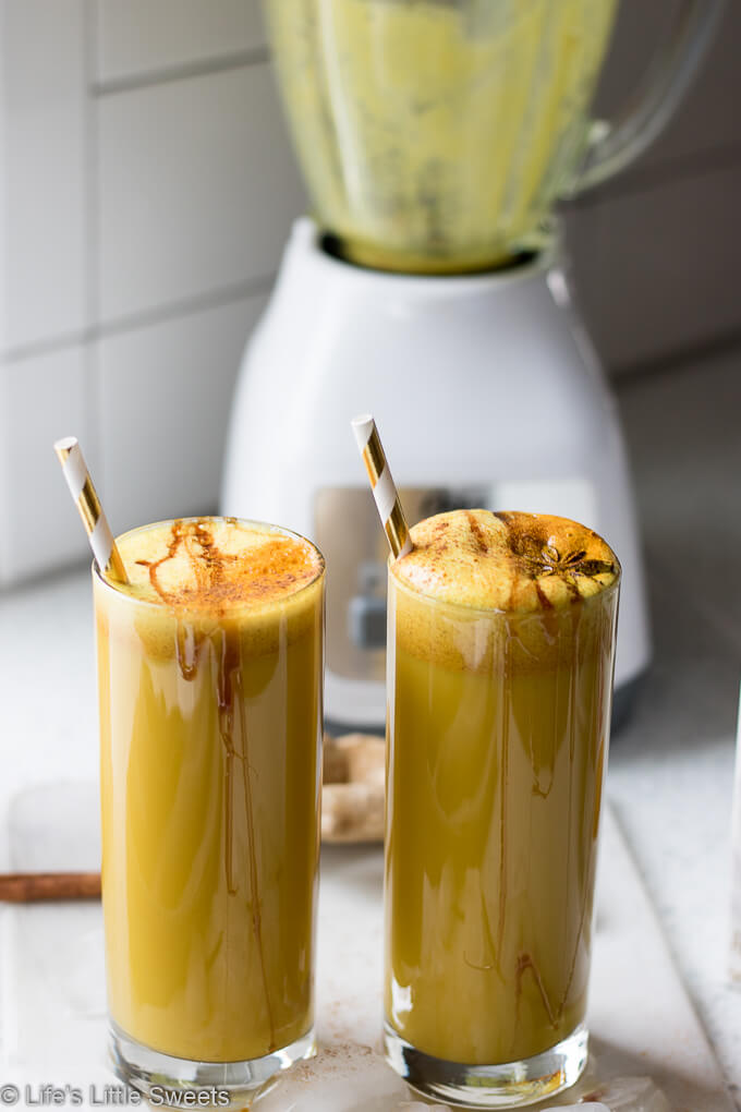 This Vegan Golden Milk Smoothie recipe is a spiced, non-dairy treat with turmeric, fresh ground black pepper, ground cinnamon and Silk Unsweetened Almondmilk! Naturally sweetened with maple syrup and optional dates. #ad #justaddsilk #CollectiveBias #vegan #goldenmilk #smoothie #Osterblender @lovemysilk