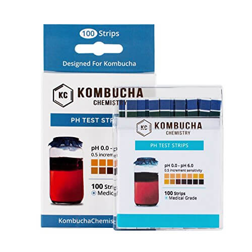 pH Test Strips for Kombucha Brewing 0-6 (0.5 Intervals) 100pc Kit