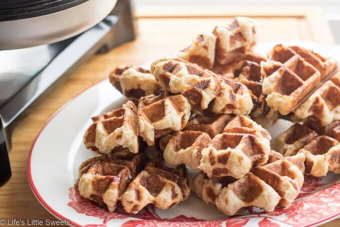 Liege Belgian Waffles are a caramelized, sweet, chewy, indulgent, yeast-risen waffle. They stay crisp and are delicious on their own or with ice cream, whipped cream, berries or any topping you can imagine. #waffles #recipe #Belgianwaffles #liegeBelgianwaffles #breakfast #sweet