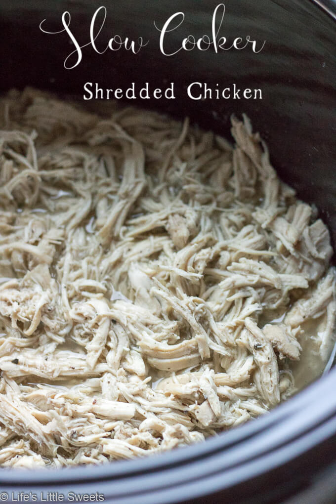 Slow Cooker Shredded Chicken is an easy recipe that can be the basis for many recipes, like tacos, on top of salads, in chili, sandwiches and more. It's lean, a great source of protein and only requires only 6 required ingredients. #chicken #shreddedchicken #savory #recipe #broth #protein #bonelessskinlesschickenbreasts #chickenbreasts