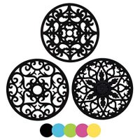 ME.FAN 3 Set Silicone Multi-Use Intricately Carved Trivet Mat - Insulated Flexible Durable Non Slip Coasters (Black)