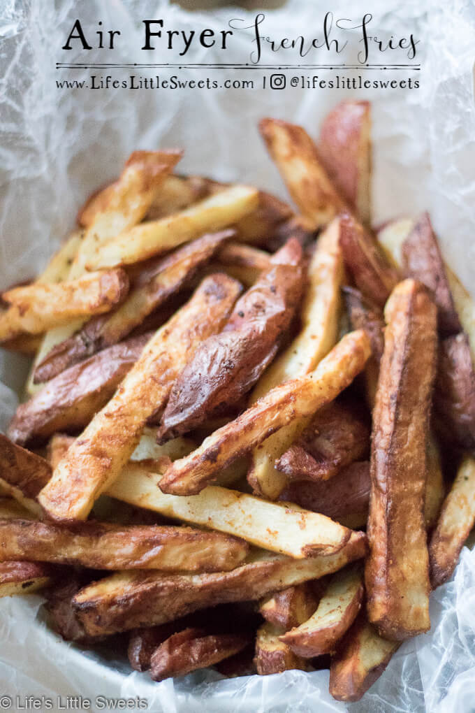 Air Fryer French Fries are savory cut potatoes seasoned with Kosher salt, cumin, smoked paprika, fresh ground black pepper, onion powder and a little bit of Canola oil. Try these easy to make, healthier than traditionally fried french fries using an Air Fryer.