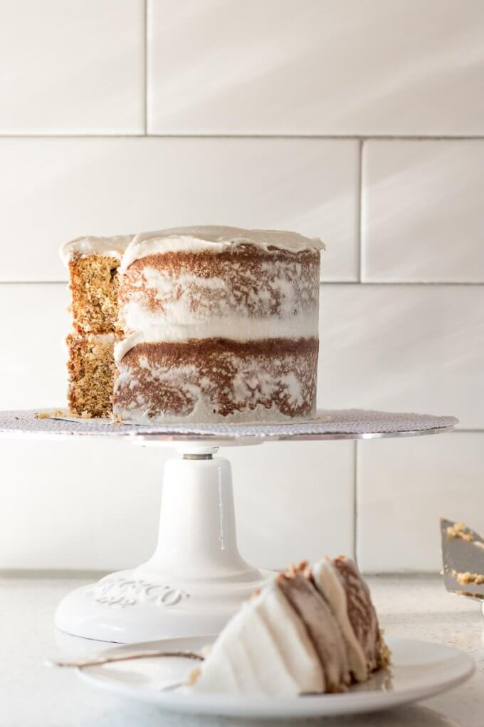Banana Bread Cake on SoFabFood with vegan frosting white kitchen background