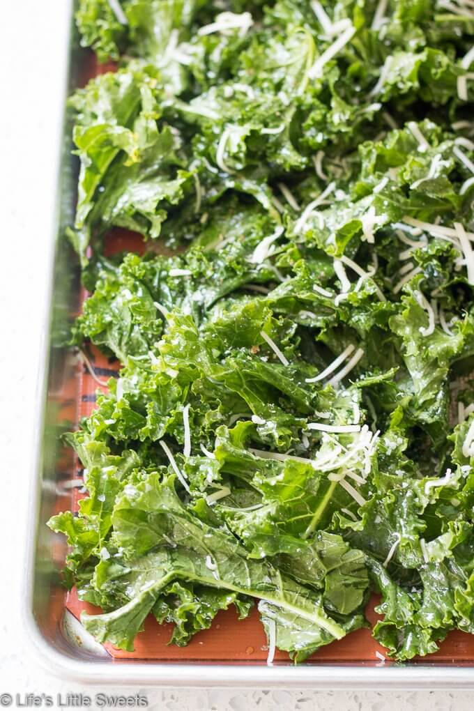 How to Make Kale Chips - sheet of kale before roasting