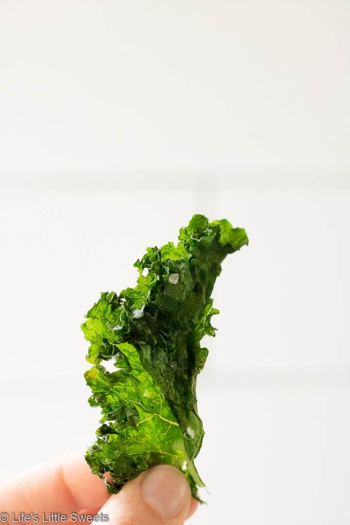 How to Make Kale Chips - one kale chip being held