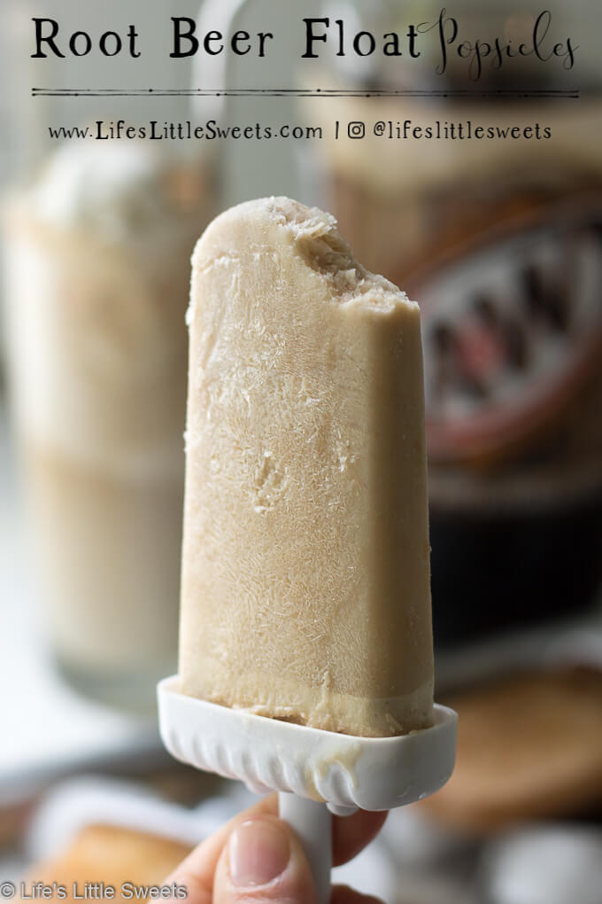 Root Beer Float Popsicles have the taste of everyone's favorite classic cold drink, root beer floats. It only requires 2 ingredients, A&W® Root Beer and vanilla ice cream to create these ice-y, sweet treats, perfect for hot, Summer weather! #ad #AWMemories