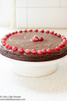 Flourless Chocolate Cake with Wineberries lifeslittlesweets.com 680x1020
