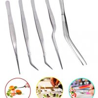 5pc Cooking Tweezers Precision Kitchen Plating Tweezer Stainless Steel Curved Tongs for Baking Decorating Beauty