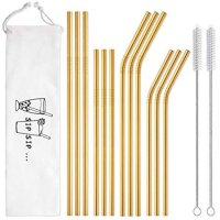 Hiware 12-Pack Gold Stainless Steel Straws Reusable with Case - Metal Drinking Straws for 30oz / 20oz Tumblers Yeti Dishwasher Safe, 2 Brushes Included