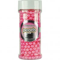 Sweetworks Celebrations Candy Pearls Shaker Jar, 5 oz, Shimmer Bright Pink