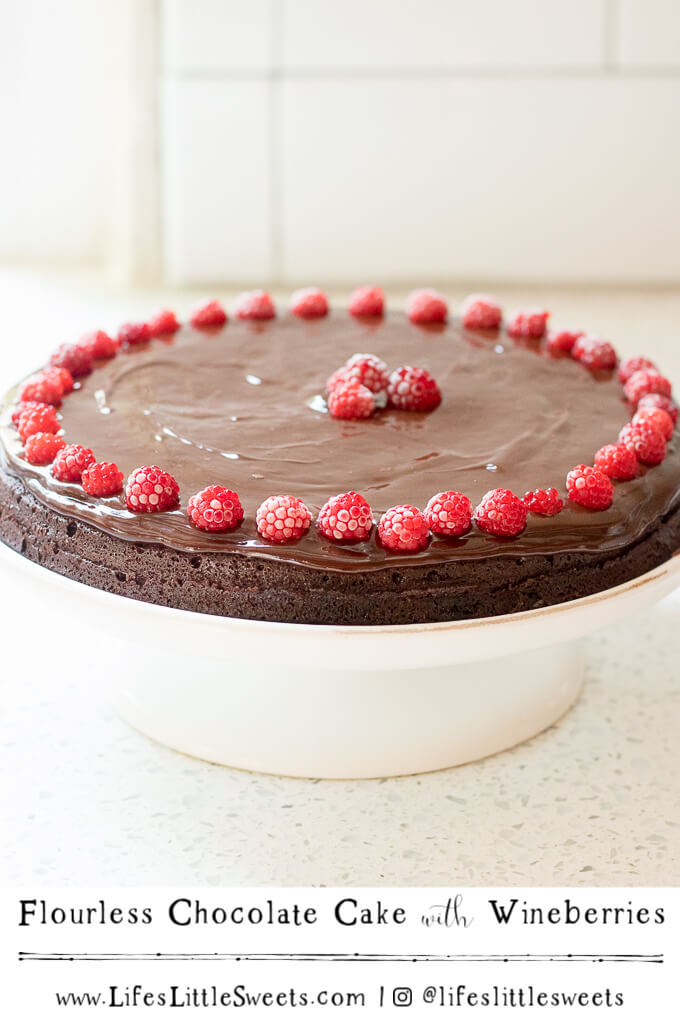 Flourless Chocolate Cake with Wineberries