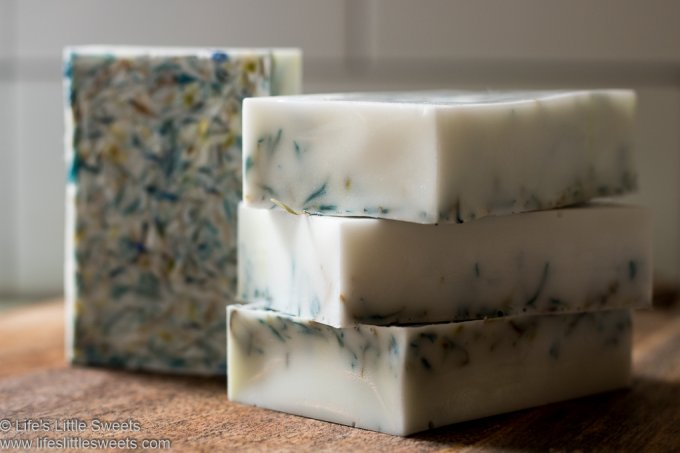 How to Make Cornflower Rose Shea Butter Soap lifeslittlesweets.com