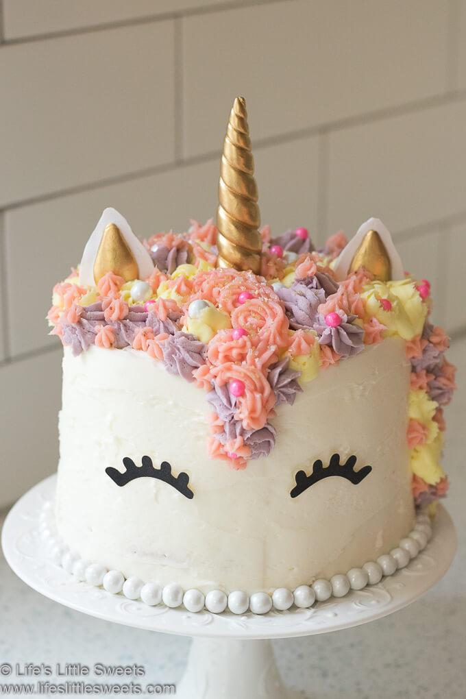 Unicorn Rainbow Cake lifeslittlesweets.com