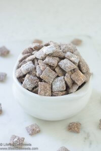 Double Peanut Butter Muddy Buddies lifeslittlesweets.com