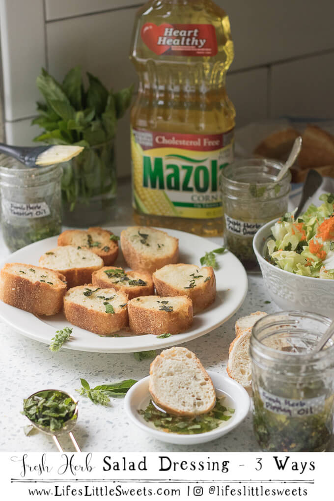 This Fresh Herb Salad Dressing can be used in three different ways: as a dipping oil for bread, as a salad dressing and brushed on bread for toasting. It's light using Mazola® Corn Oil and Summer-y with fresh, chopped sage, mint and basil. #ad #ChooseMazola #CollectiveBias #saladdressing #sage #mint #basil #Summer @MazolaBrand