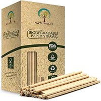 "Naturalik 300-Pack Biodegradable Paper Straws Dye-Free- Brown Kraft Premium Eco-Friendly Paper Straws Bulk- Drinking Straws for Juices, Smoothies, Restaurants and Party Decorations, 7.7"" (Brown Kraft)"