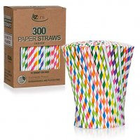Zunii 300-Pack Multi-Color Biodegradable Paper Straws - 10 Bright Colors - Eco Friendly Straws for Juice, Soda, Cocktails, Shakes - Great for Birthday Parties, Bridal Showers, Cake Pop Sticks