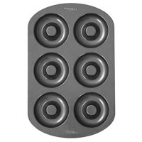 "Wilton 6-Cavity Doughnut Baking Pan, Makes Individual Full-Sized 3 3/4"" Donuts or Baked Treats, Non-Stick and Dishwasher Safe, Enjoy or Give as Gift, Metal (1 Pan)"