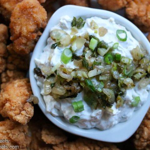Bacon Cheddar Ranch Onion Dip Recipe lifeslittlesweets.com