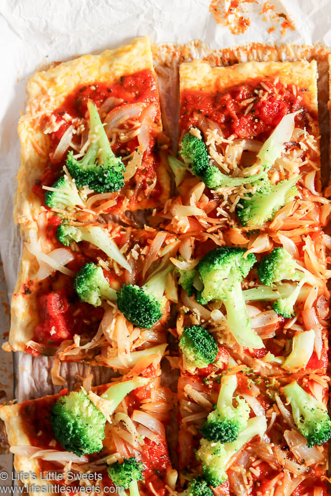 Broccoli Garlic Onion Chicken Crust Pizza is a savory, low carb pizza, packed with protein-rich chicken and cheese and topped with red pizza sauce, broccoli, onions, garlic and Parmesan cheese. Every bite will leave you feeling satisfied. #chickencrustpizza #pizza #Keto #broccoli #garlic #onion #Paleo #garlic www.lifeslittlesweets.com