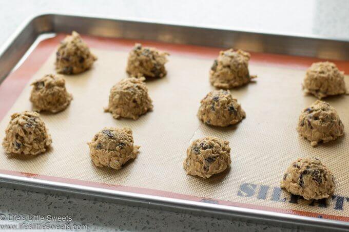 Oatmeal Raisin Cranberry Cookies dough balls ready to bake