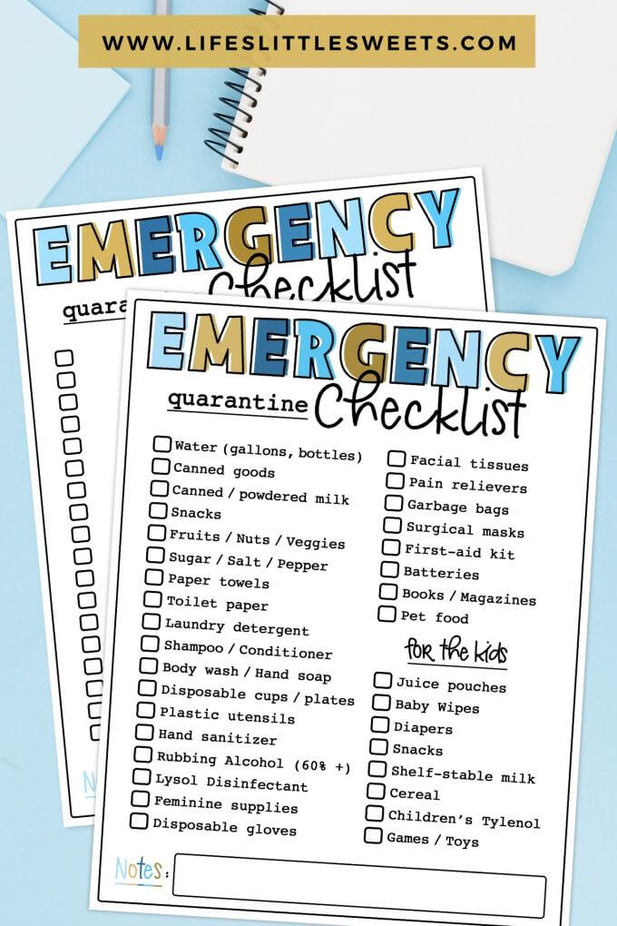 Emergency Quarantine Checklist Printable