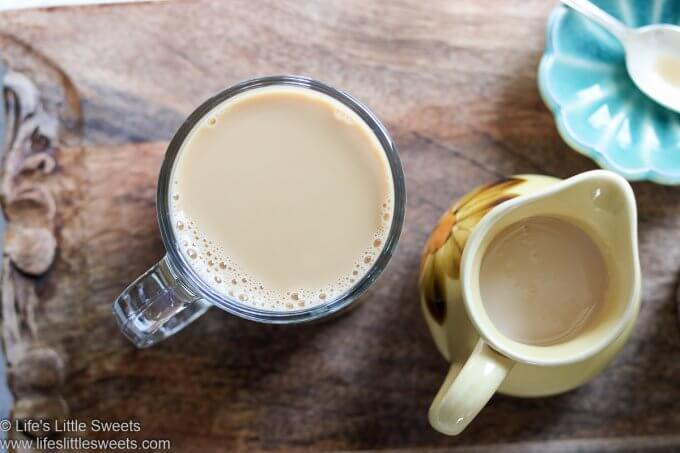 overhead Coffee in a clear mug