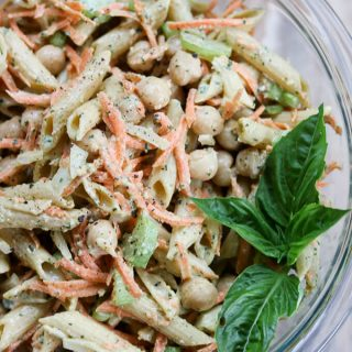 Basil Pesto Carrot Chickpea Protein Pasta Salad