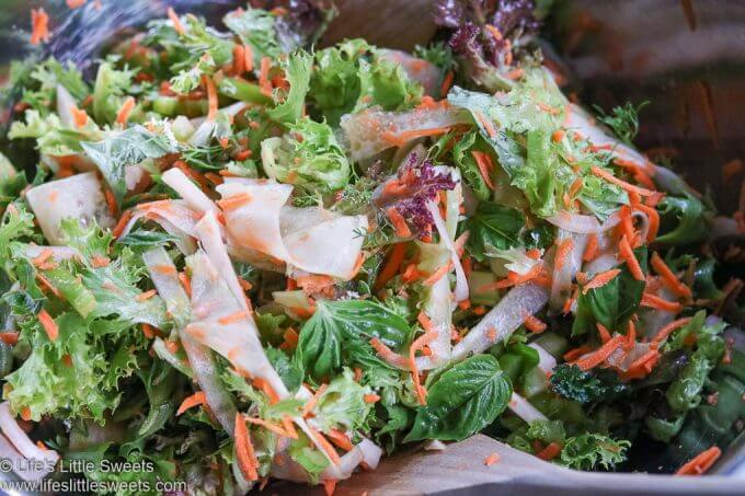 Carrot Cucumber Ribbon Mixed Greens Salad