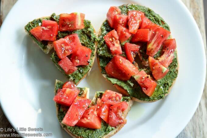 Tomato Pesto Bagel Toast www.lifeslittlesweets.com 680x1020