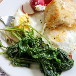 Eggs with Sautéed Radish Greens and Toast