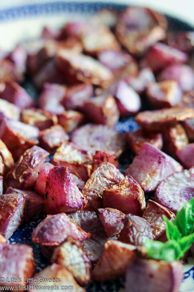 cooked Purple Daikon Radishes