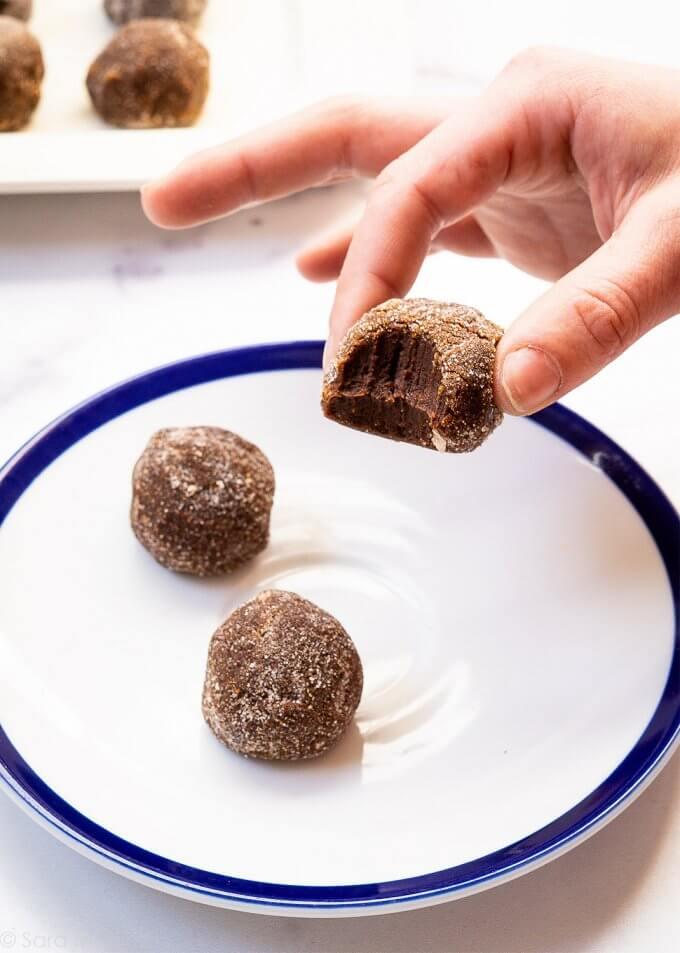 Mocha Cinnamon Truffle with a bite in it