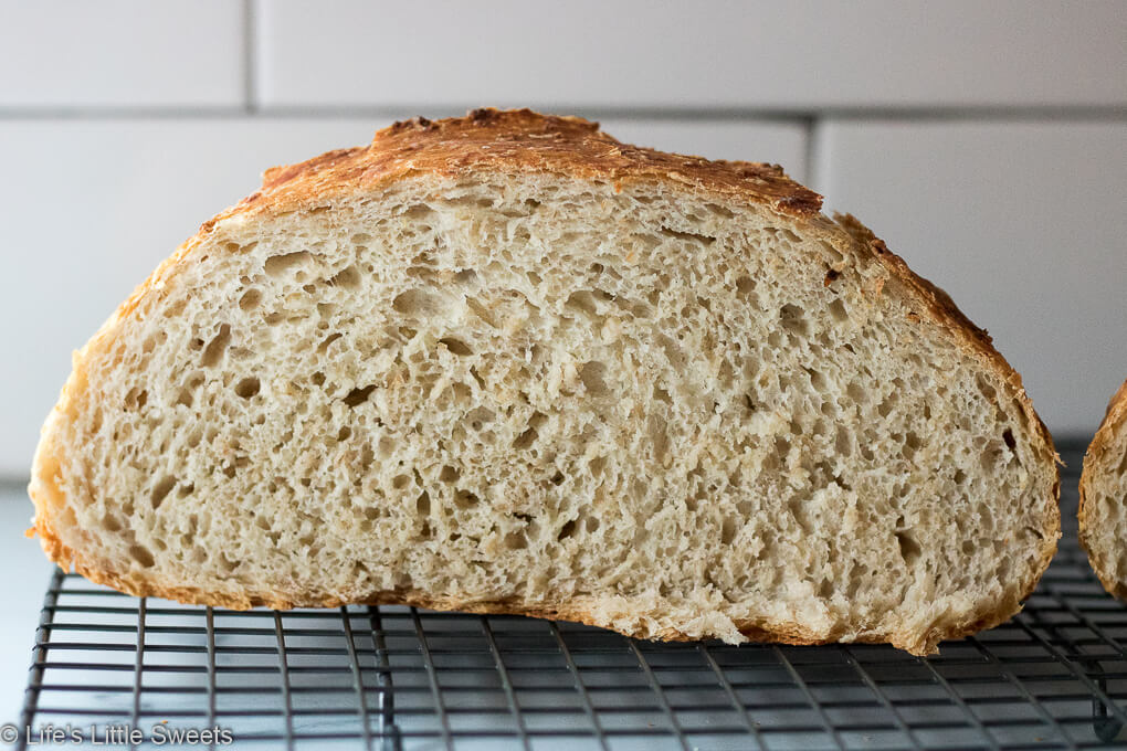 No-Knead Oatmeal Bread cut in half
