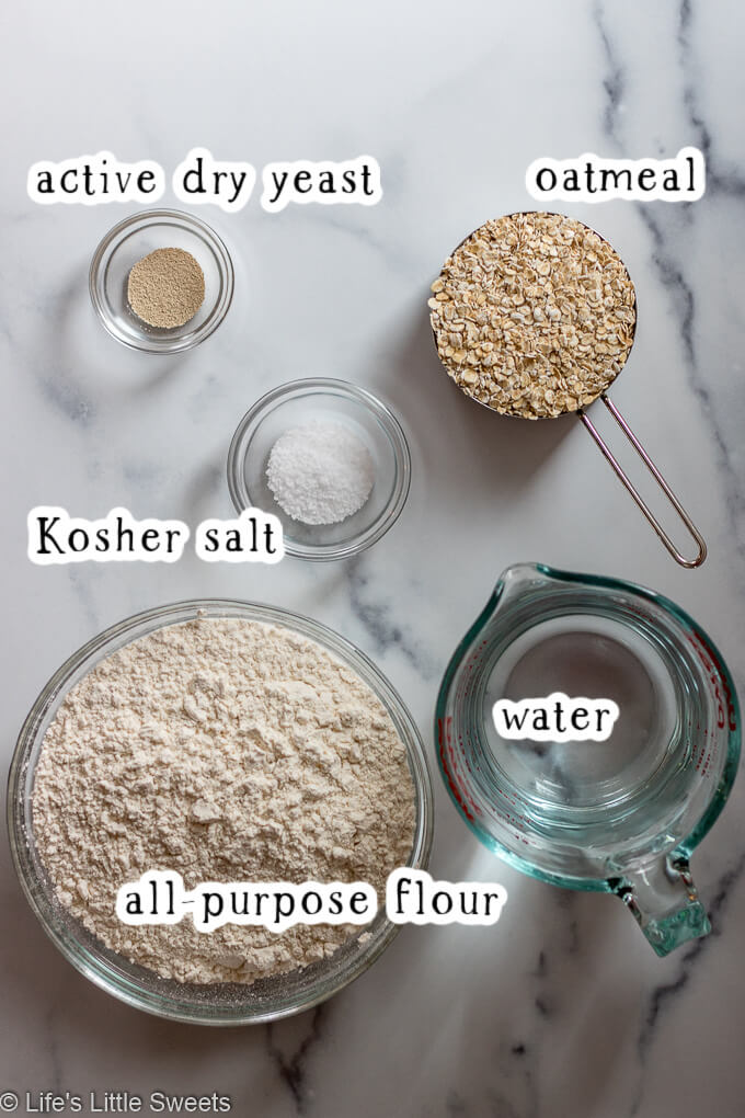 labeled ingredients for No-Knead Oatmeal Bread