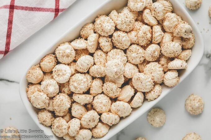 almond meringue cookies in a rectangular dish