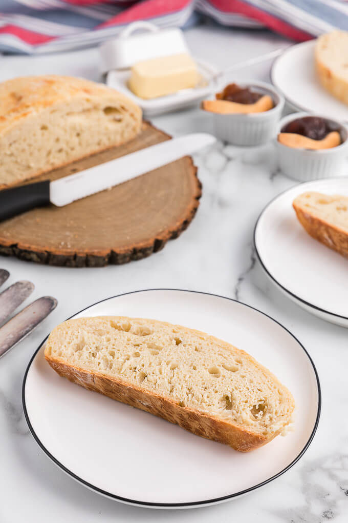 a slice of No-Knead Bread