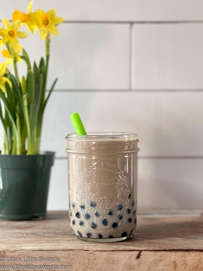 Bubble Coffee Recipe (Boba Coffee) with a green straw