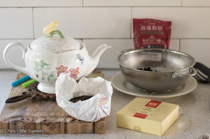 ingredients for Bubble Tea Recipe (Boba Tea) in a white kitchen