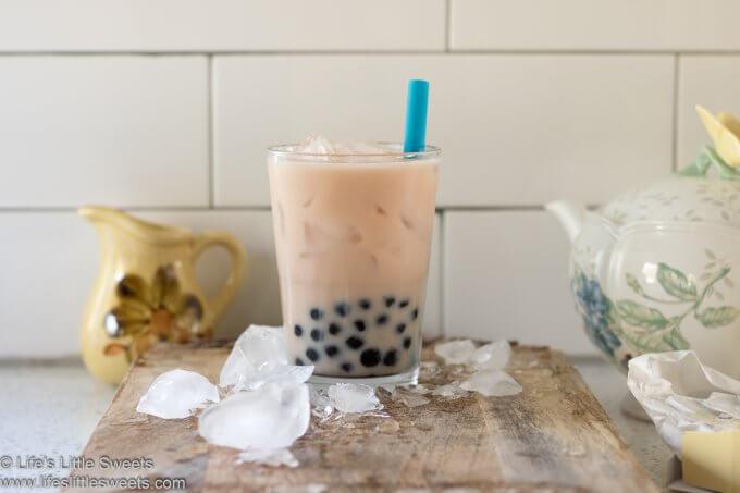 Bubble Tea Recipe (Boba Tea) with ice and a teapot