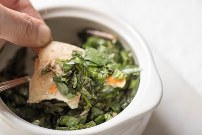 Purslane Herb Salad in a white bowl