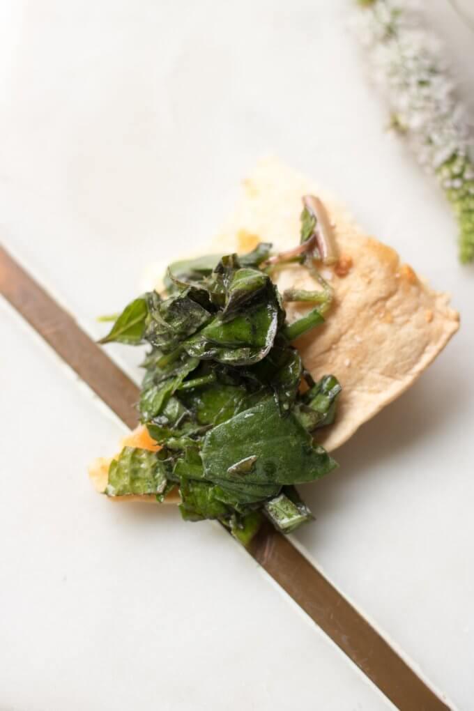 Purslane Herb Salad on a chip