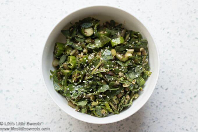 Purslane Shishito Salad close up